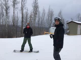 Charlie and our friend snowboarding