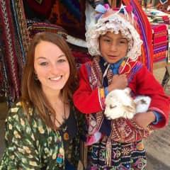 With a local girl in Pisac, Cuzco, Peru
