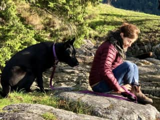 Inquisitive LouLou and me on SaltSpring.