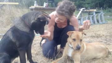 Emma and Cedar camping on Denman Island