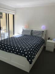 Comfy queen sized bed with a little courtyard off the main bedroom