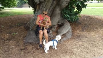 Kathy with Maximus, Tilly and Bamse - Greenwich UK July 2017