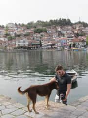 Victor with a steet dog in Ohrid, North Macedonia