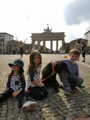 Our children with our dog Midnight in Berlin
