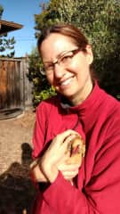 Diane and our neighbor's sweet little hen
