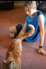 My son with our cat
