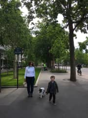 Toffi and I with my god son in Paris