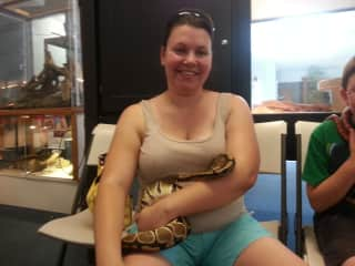 Amanda with the snakes
