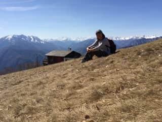 Gail resting after hiking at Cardada, Ticino, Switzerland