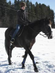 Winter riding in Finland. Loved long rides in the forest, during winter and summer.