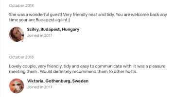 AirBnB reviews: Hungary and Sweden