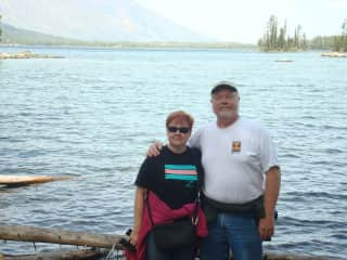 This is me and my husband Rick who would probably accompany me when appropriate. We're visiting the Tetons here in Wyoming.
