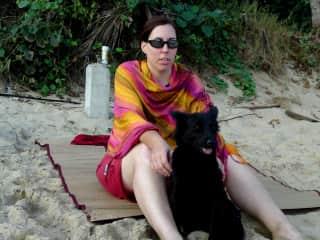 Natasha at the beach with Xiao Hei