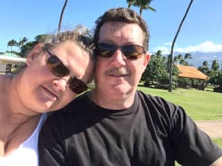 This is my husband and me in Hawaii.