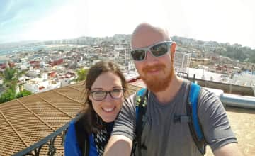Enjoying rooftop views after lunch in Tangier, Morocco (a day trip we took between house sits).