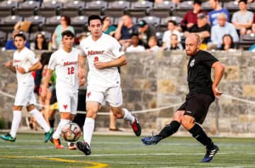 Recently played with a semi-pro soccer team in New York, here scrimmaging against Marist College.