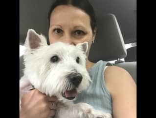 Mimi and Napa, my sweet rescue Westie who passed away last August at the age of 17.