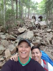 Nicole and Toni hiking in Acadia National Park