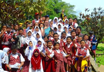 Trip to Java, 2016. At Bogor's Gardens, these school children were quite keen to have their picture taken with me.