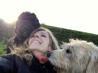 Otto, Freya and me at Melbury Beacon in Dorset at Christmastime 2015