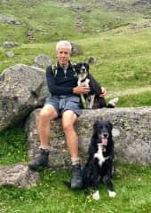 Tim with Roscoe and Jess near Kirriemuir