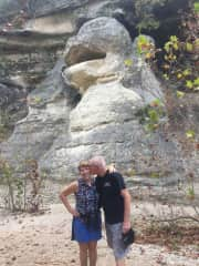 Cliff and Cathy Richards at monkey rock in Lost Maples