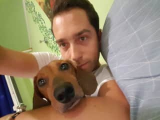 Honey the Dog and Julien.