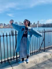 Grad pic at my happy place: Jacqueline Kennedy Onassis Reservoir in Central Park, NYC