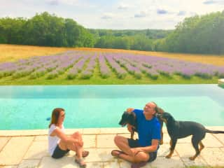Taking care of Ruby and Lippie at their estate in France.