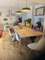 Kitchen table in open plan kitchen/diner.