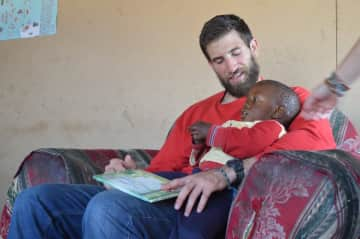 Doing a little reading with my pal in Swaziland