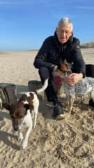 Daniel with two little dogs, a Jack Russel cared for 2 months in the Netherlands wher we live