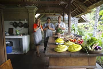Learning to cook with chef Dona in Ubud, Bali.