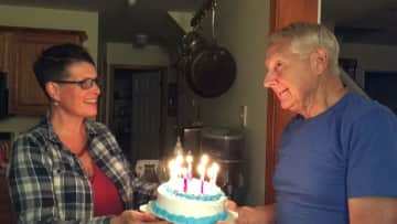 Celebrating my father-in-law's 75th birthday. He lives with my partner and I - we help him b/c he has Alzheimer's disease.