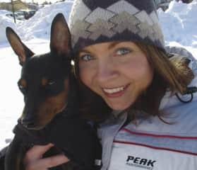 Winter walk with my former dog, the miniature pinscher Apex.