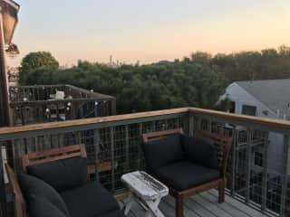 Back deck overlooking the city