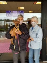 """Picking up our 3rd rescue of the covid-19 season from the Humane Society shelter. After 4 weeks in foster care, she found her new """"furever home."""""""