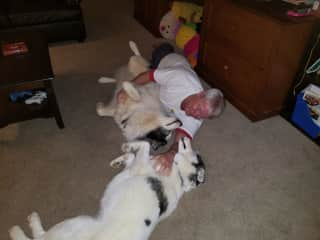 Tim playing with his friends on the floor. Lots of love!