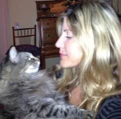 Toots,  my moms cat and myself ,having a heart to heart