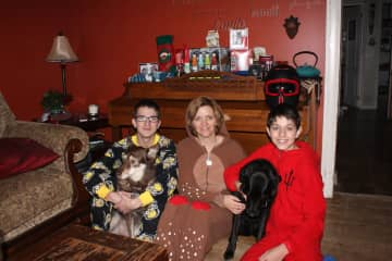 2013-Myself with my boys, our Cannelle and Fiona. We often dogsit Fiona and love to take her out in the bush with us.