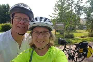 Barbara and Jim biking in Brittany, France