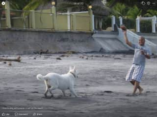 Jeffrey playing football on the beach in Panama