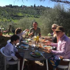 A family lunch in springtime.
