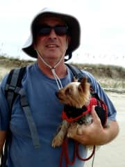 Jimmy with Casey having some beach time!