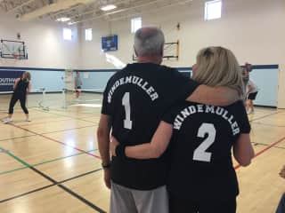 We are pickleball players!  Our granddaughter Meghan made our shirts.
