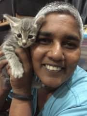 Sherrina with Talawa, a rescued kitten