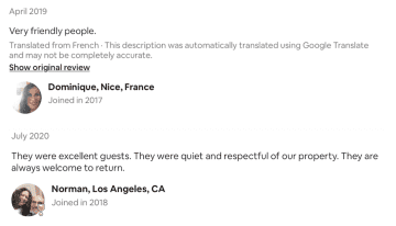 AirBnB reviews: France and California