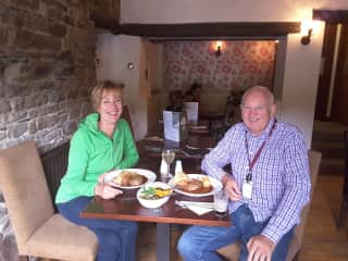 Me and Ian enjoying a Sunday roast in a little country pub we found when exploring the Lake District