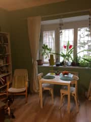 A view of the window, dining table and reading area