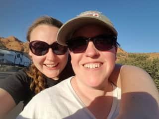 Diana and Amber camping!